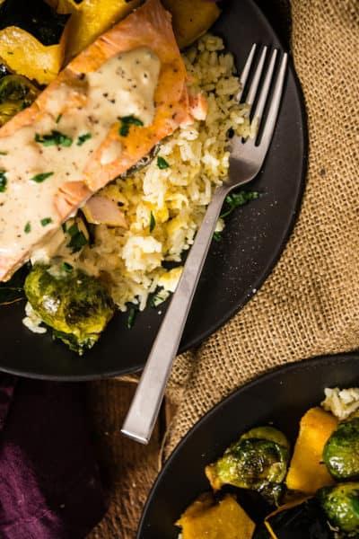 Curry Roasted Salmon & Veggies With Tahini Sauce over Basmati