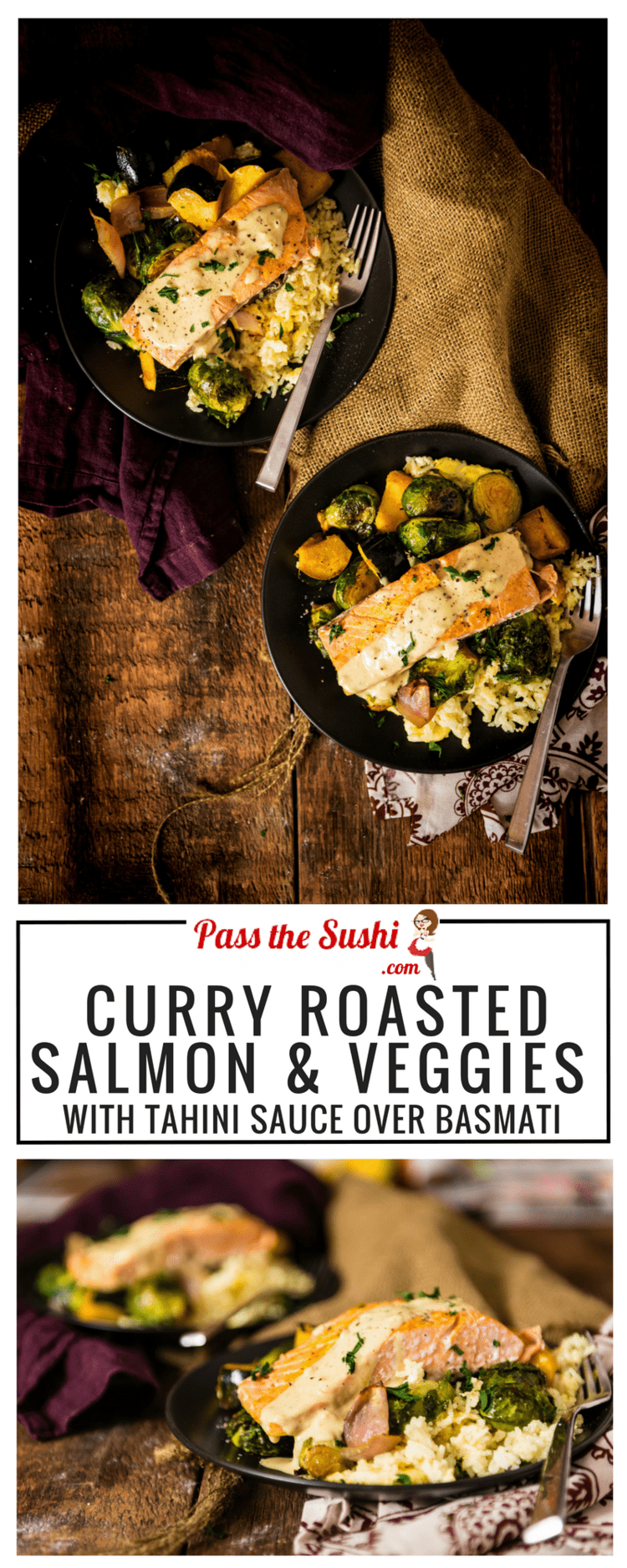 Seriously good comfort food recipe! Curry Roasted Salmon & Veggies with Tahini Sauce over Basmati | SUCCESSfulHoliday @successrice AD