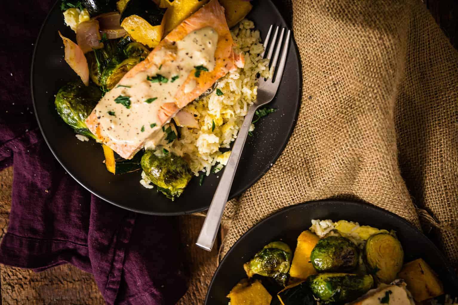 Curry Roasted Salmon & Veggies With Tahini Sauce over Basmati | Kita Roberts PassTheSushi.com
