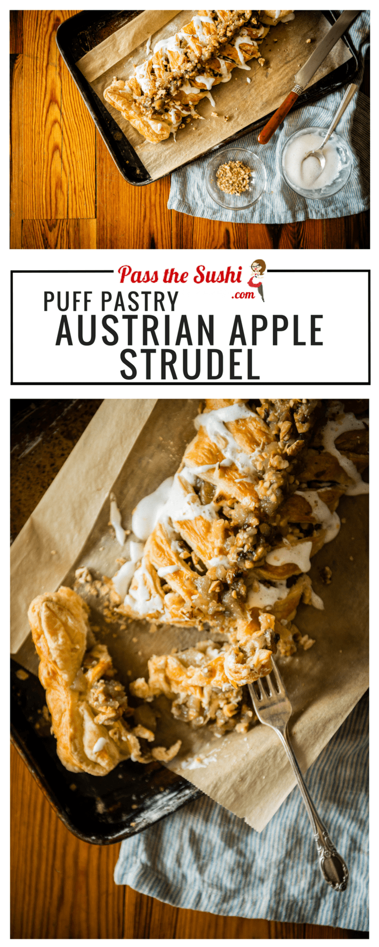 Puff Pastry Austrian Apple Strudel Recipe is a quick copycat recipe that can be made at home with under 10 ingredients! | Kita Roberts PassTheSushi.com