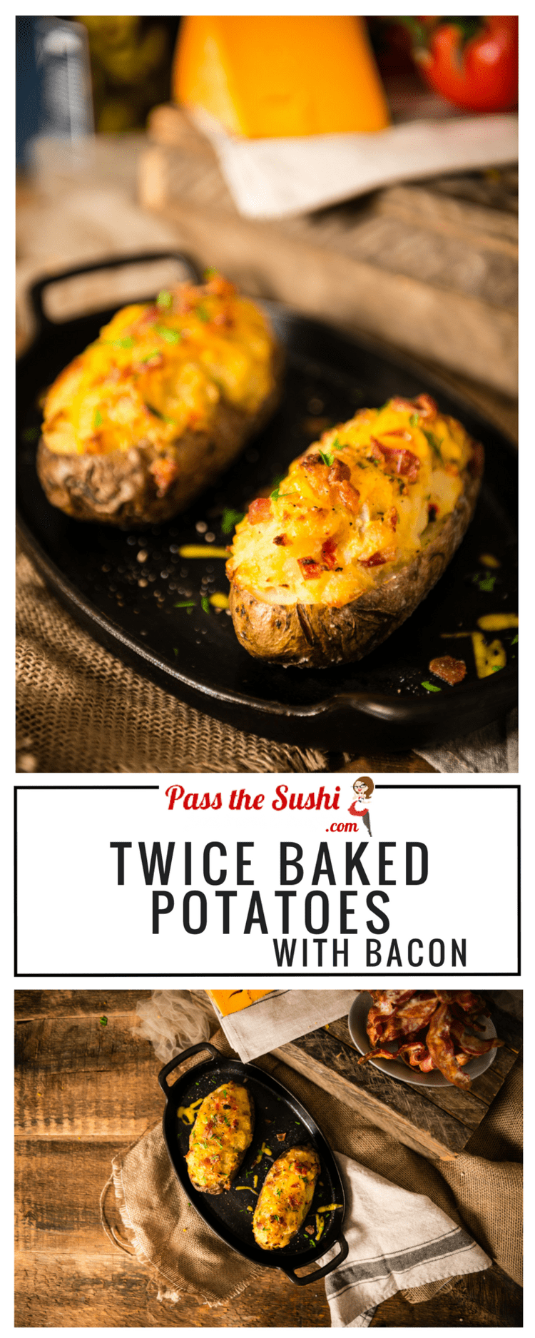A perfect recipe for Twice Baked Potatoes with Bacon with everything you want. Crispy skin and fluffy filling loaded with cheesy goodness.
