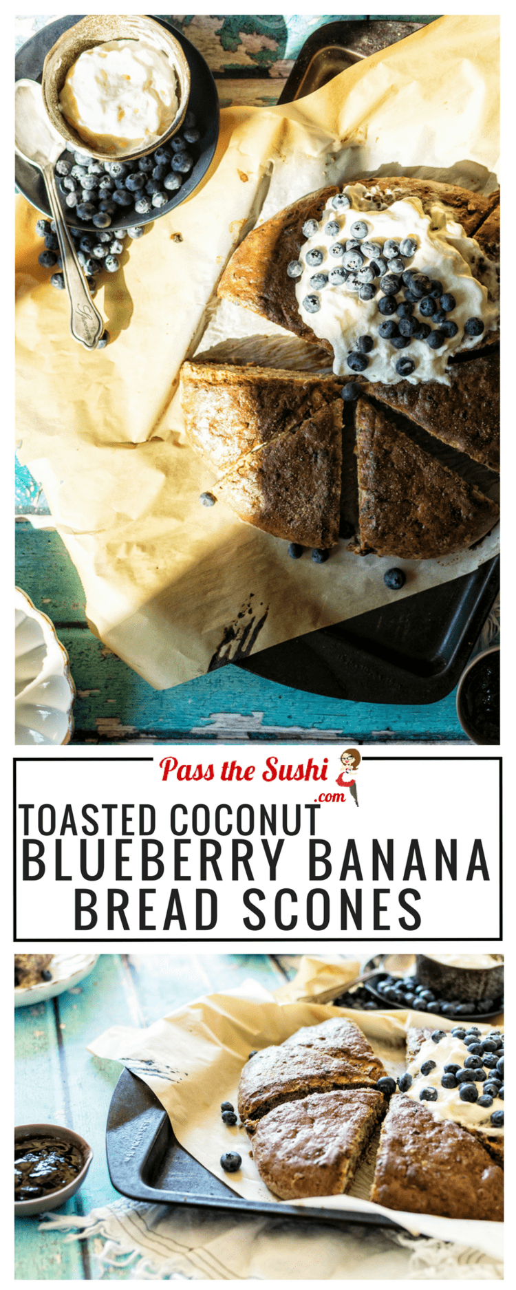 Looking to satisfy the sweet tooth, but stay a little on the healthy side? This recipe for Toasted Coconut Blueberry Banan Bread Scones is a high-protein treat that you'll love!