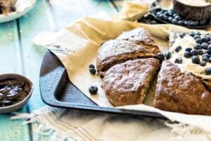 Toasted Coconut Blueberry Banana Bread Scones | Kita Roberts PassTheSushi.com