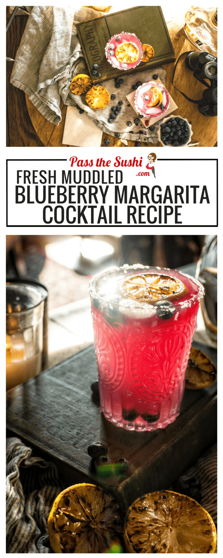 Fresh Muddled Blueberry Margarita Cocktail Recipe