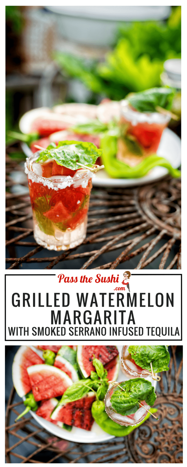 Grilled Watermelon Margarita with Smoked Serrano Infused Tequila Recipe at PasstheSushi.com
