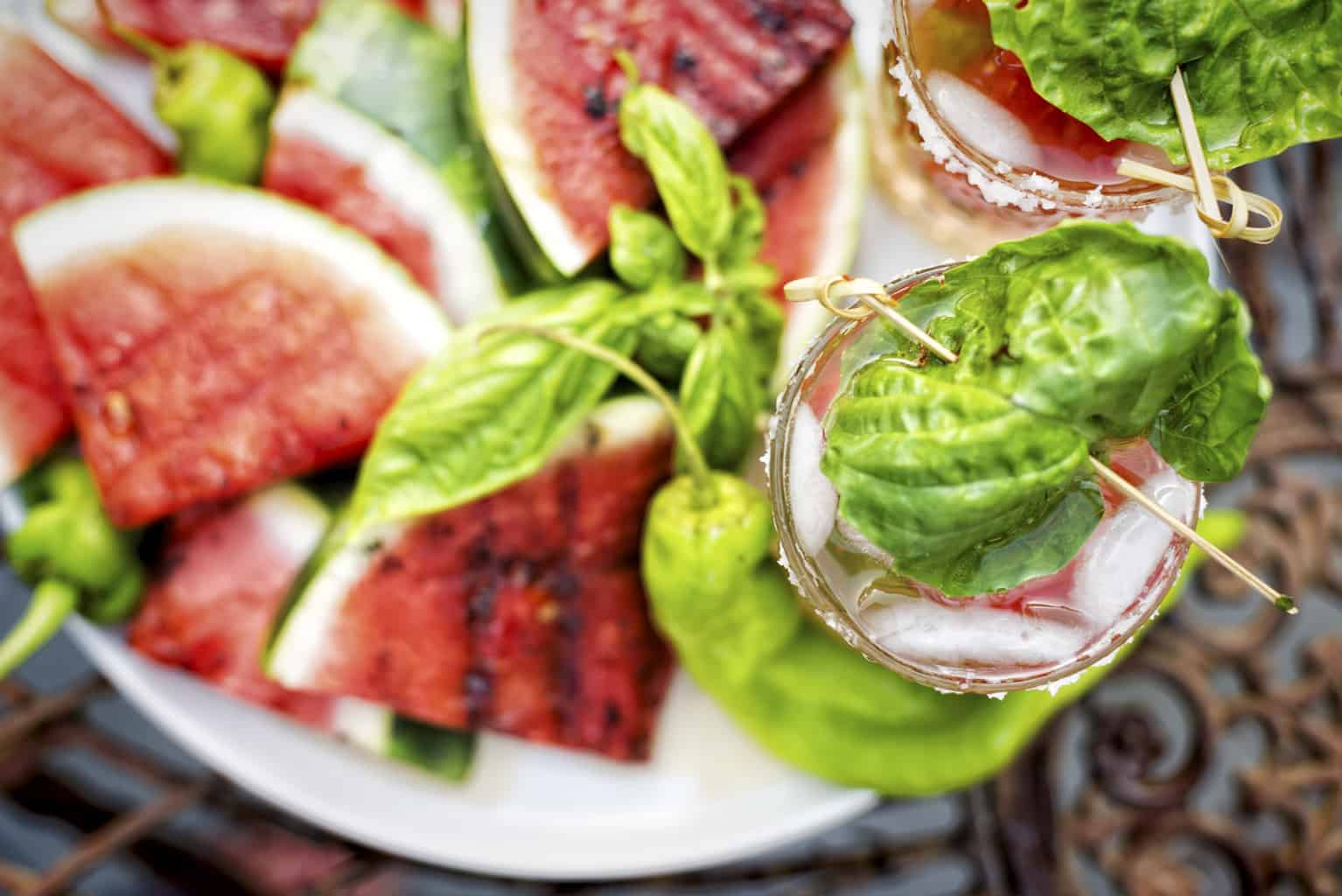 Grilled Watermelon Margarita with Smoked Serrano Infused Tequila | Kita Roberts PassTheSushi.com