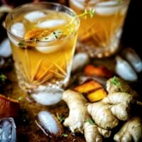 Grilled Peach Ginger Bourbon Cocktail