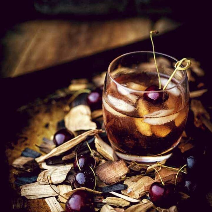 Smoked Cherry Old Fashioned Cocktail | Kita Roberts PassTheSushi.com