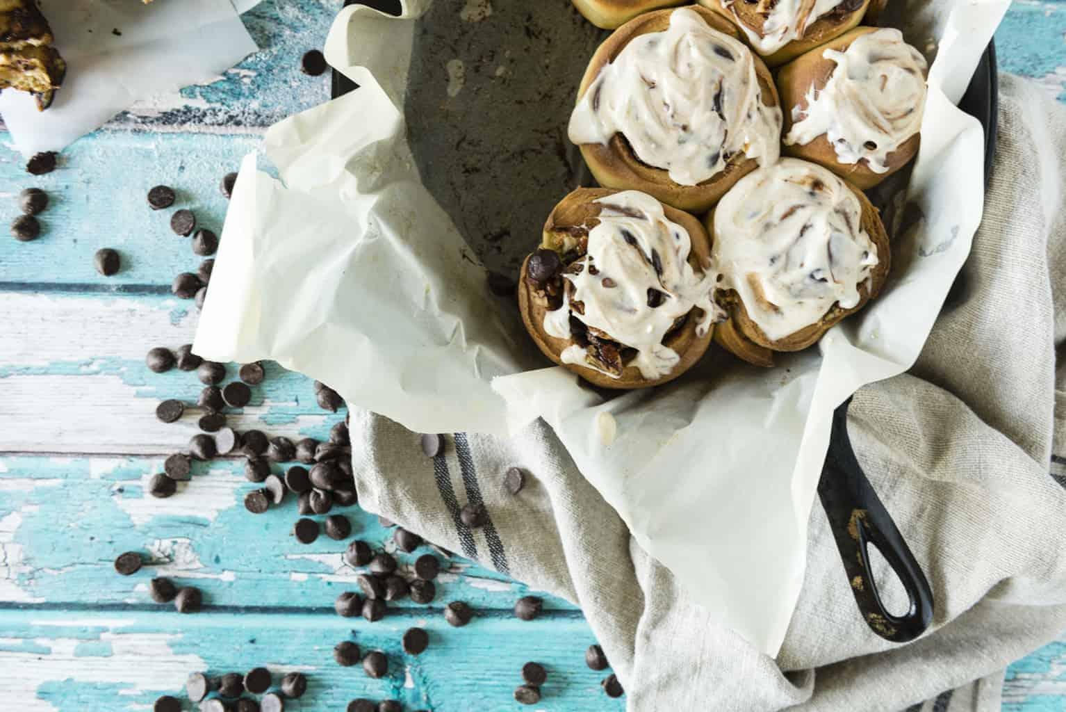 Chocolate Chip Pecan Cinnamon Rolls | Kita Roberts PassTheSushi.com