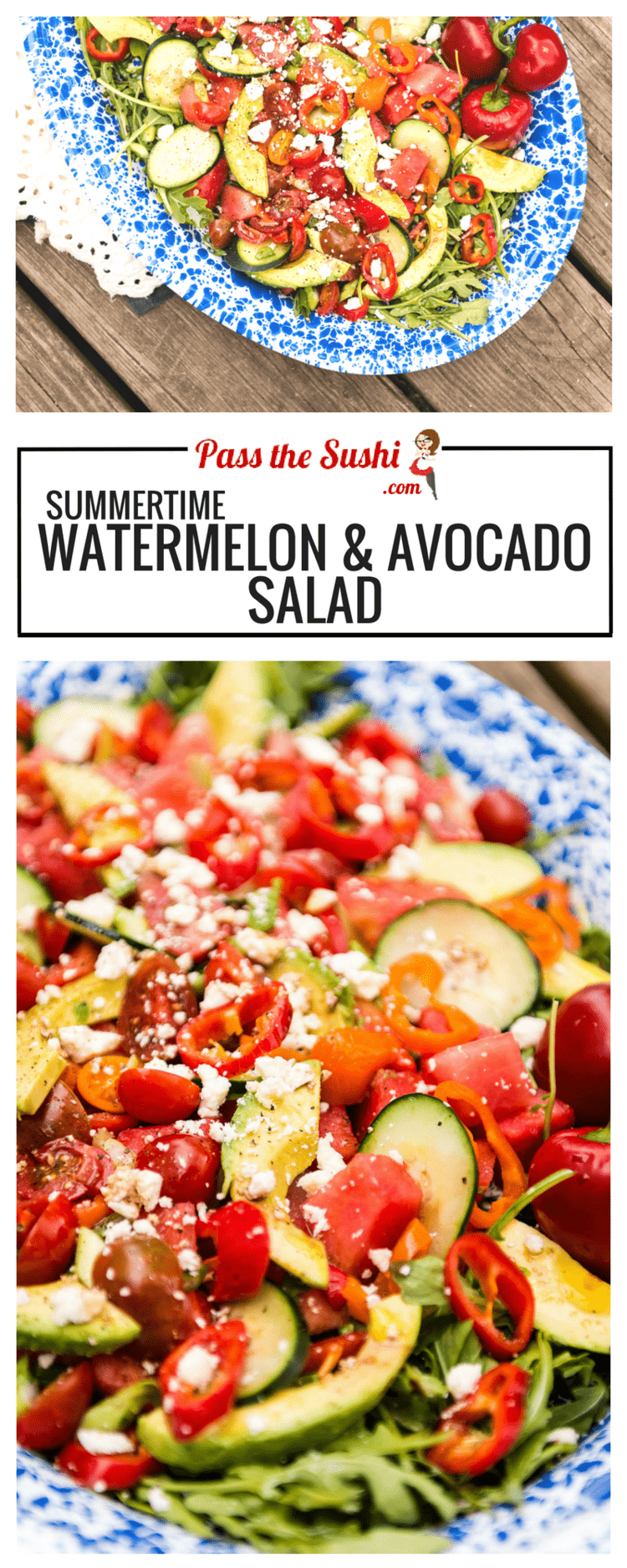 Summertime Watermelon Avocado Salad Recipe - Kita Roberts PasstheSushi