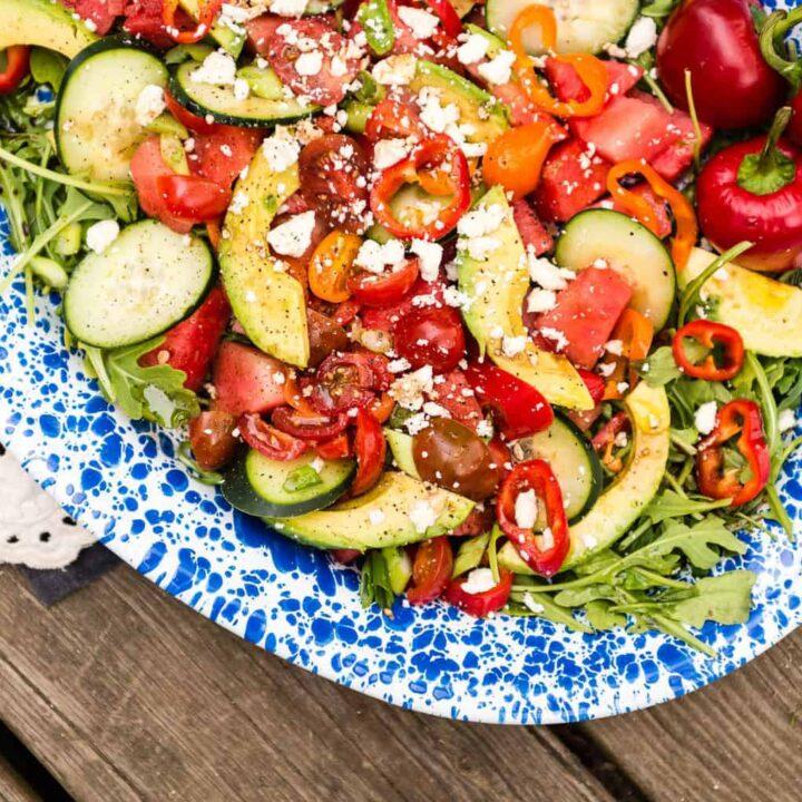 Summertime Watermelon Avocado Salad Recipe - Kita Roberts PasstheSushi