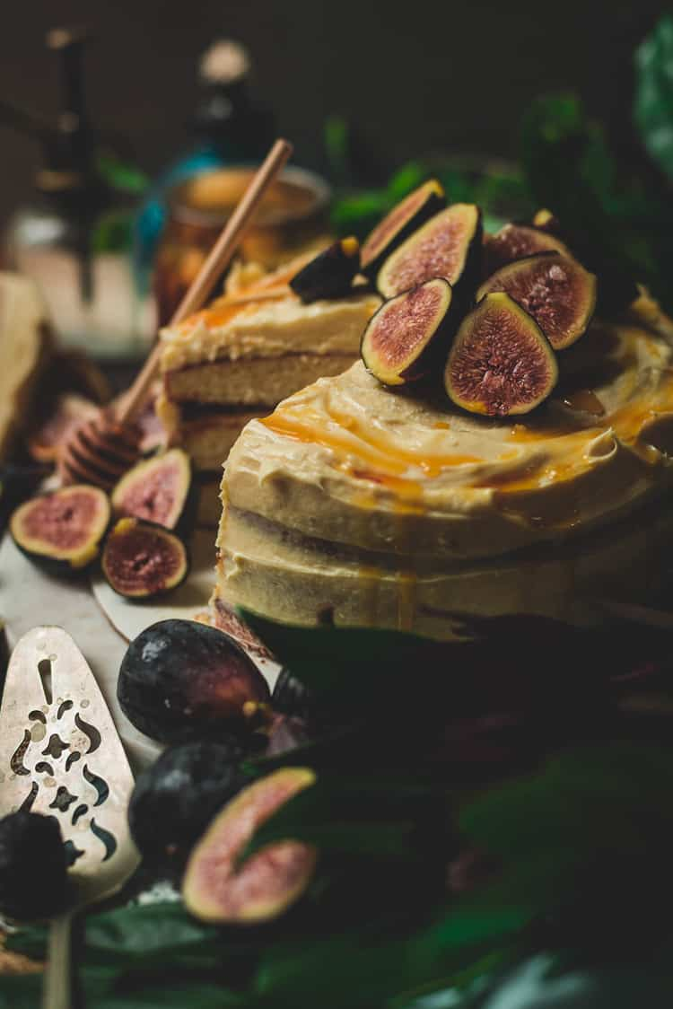 drunken fig cake close up