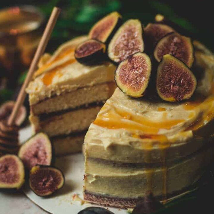 Drunken Fig Layer Cake with Salted Honey Butter Frosting