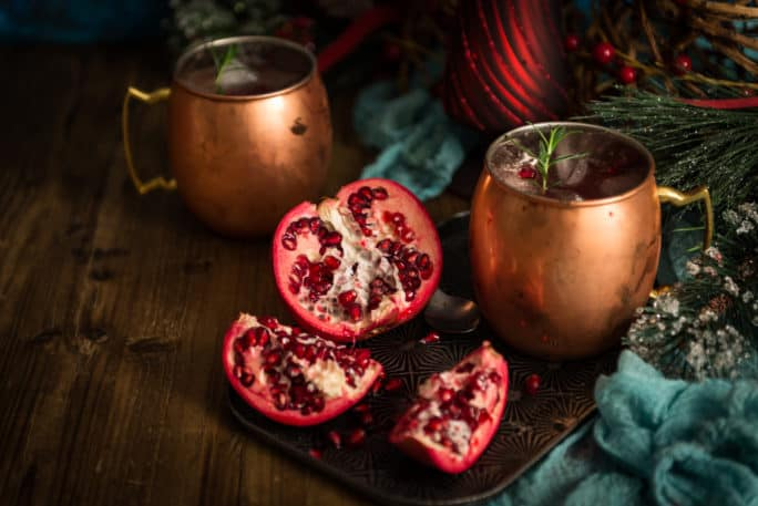 pomegranate moscow mule cocktail recipe by kita roberts on passtheushi
