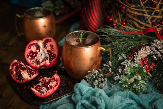 pomegranate moscow mule cocktail recipe by kita roberts on passthesushi.com