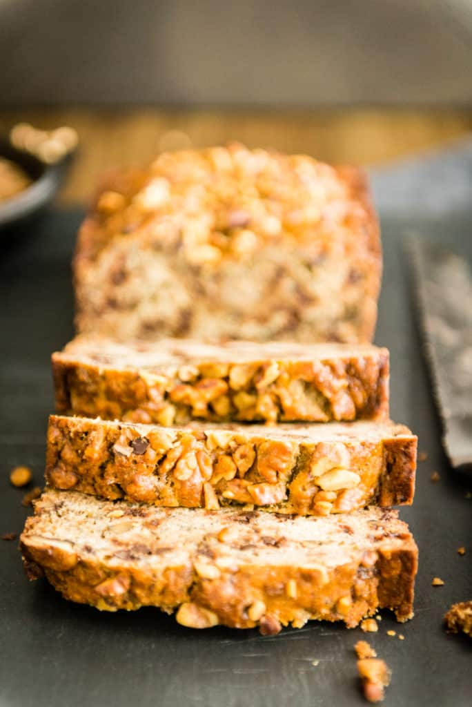 Espresso banana bread recipes uses up frozen bananas, chocolate chips and walnuts!