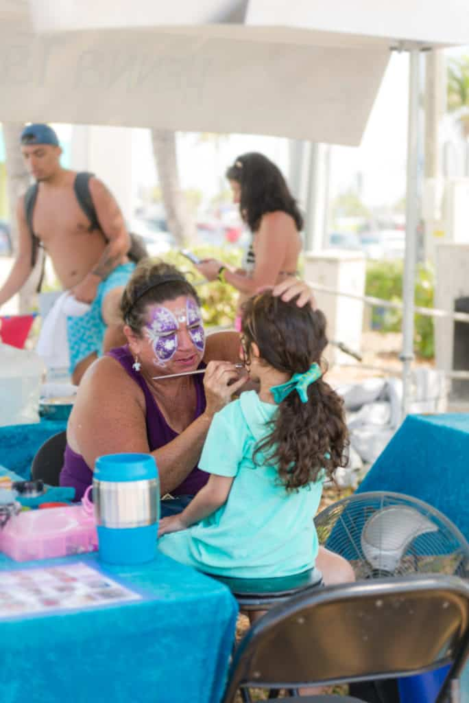 Face painting and other family activities at the Fort Myers Shrimp Festival