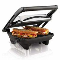 Hamilton Beach 25460A Electric Panini Press Sandwich Maker Grill with Nonstick Grids, Medium, Chrome Finish