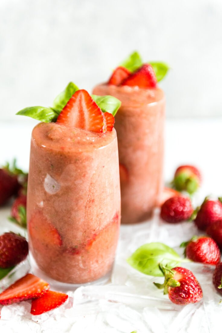 Frozen Strawberry Balsamic gin and tonic cocktail