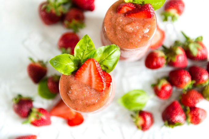 A perfect blend of balsamic strawberries and the classic gin and tonic in one cocktail
