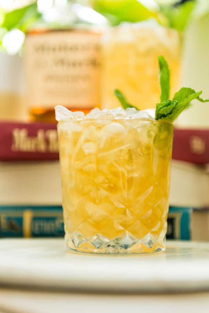 lemon mint julep in front of books | Kita Roberts passthesushi.com
