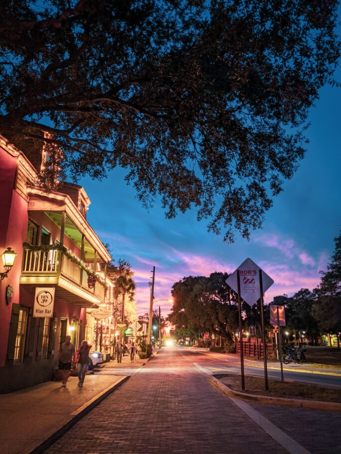 St Augustine at sunsets is one of the pretties cities to stroll through as the pastel skies paint the narrow streets and historic facads.