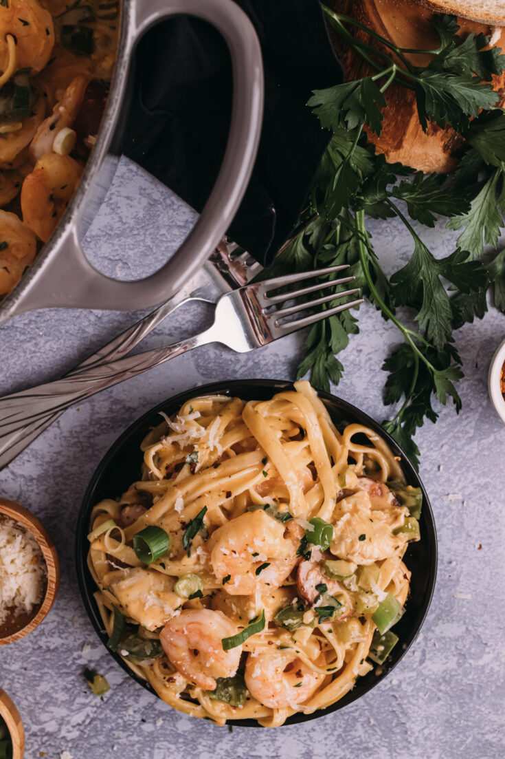 Cajun Chicken, Shrimp, and Sausage Pasta